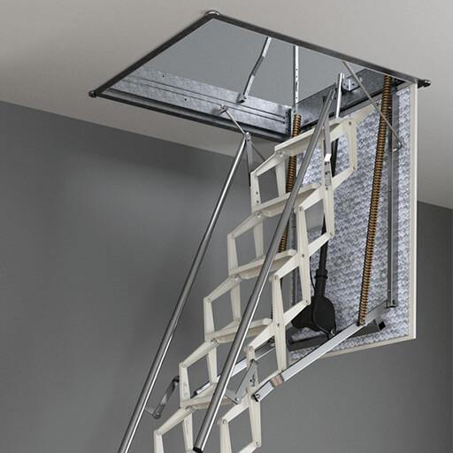 Easy operation of retractable aluminium loft ladder