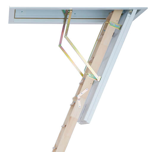 Wooden folding loft ladders with insulated hatches