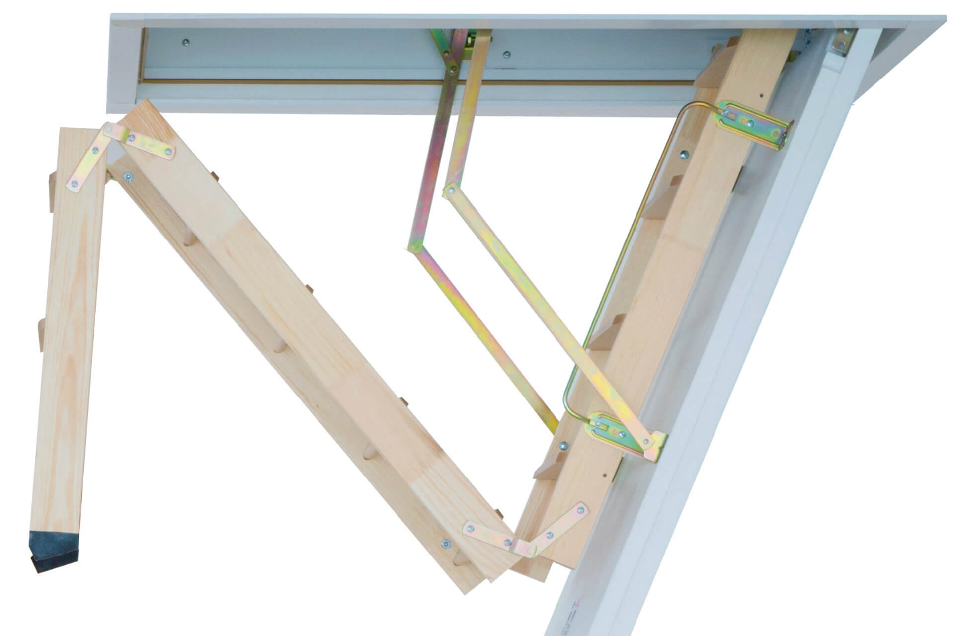 Wooden loft ladder and insulated hatch. The Cadet 3