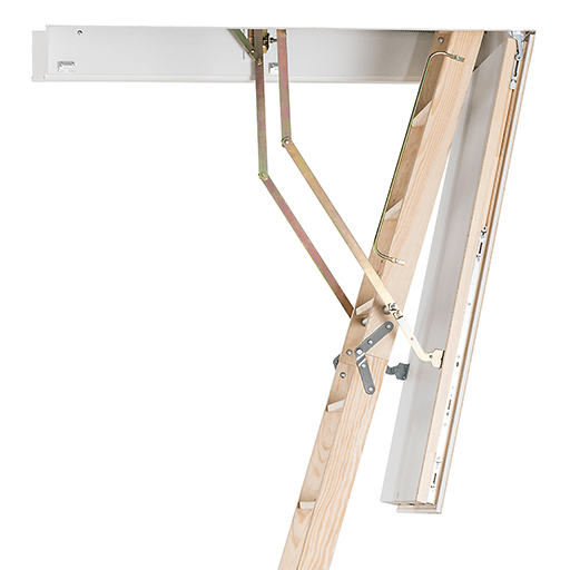 Wooden loft ladder with insulated hatch box and cover