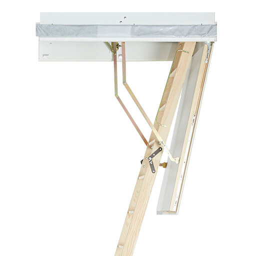 Wooden heavy duty loft ladder with energy efficient hatch box and cover