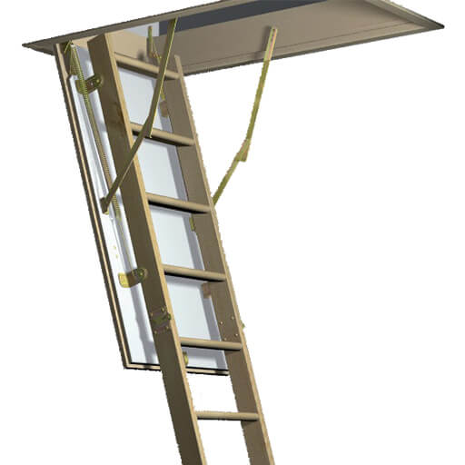 Esca 11 loft ladder. Wooden loft ladder and hatch, available in standards sizes for quicker delivery