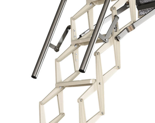 Escalmatic electric loft ladder with white powder cost finish and 2 galvanised telescopic handrails. Premier Loft ladders