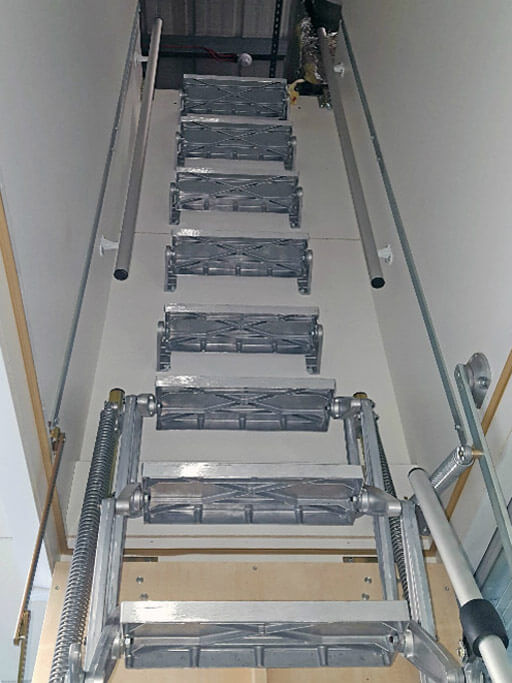 Supreme Loft Ladder with deep hatch box for suspended ceiling. Premier Loft Ladders