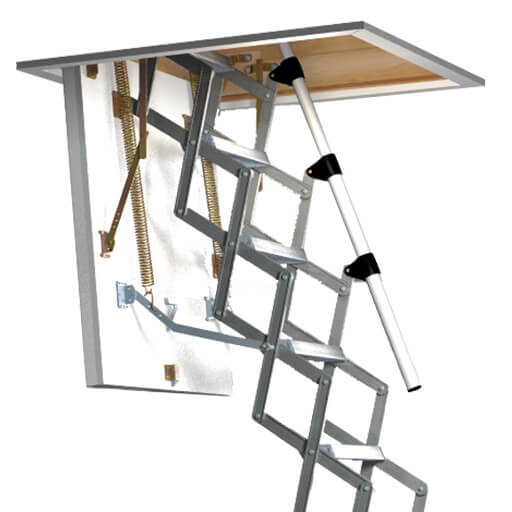 MiniLine fire resistant loft ladder. Fire rated loft hatch and ladder from Premier Loft Ladders