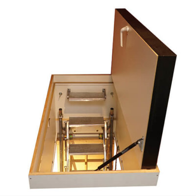 Heavy duty aluminium loft ladder and hatch offers superb thermal insulation for passivhaus / passive house projects