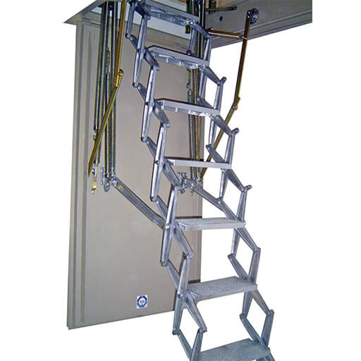 Supreme loft ladder with with fire resistant steel hatch. F30 fire rated