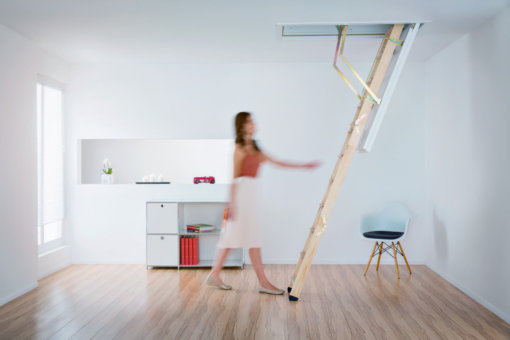 Cadet 3 wooden loft ladder and hatch. Traditional styling and thermal insulation.