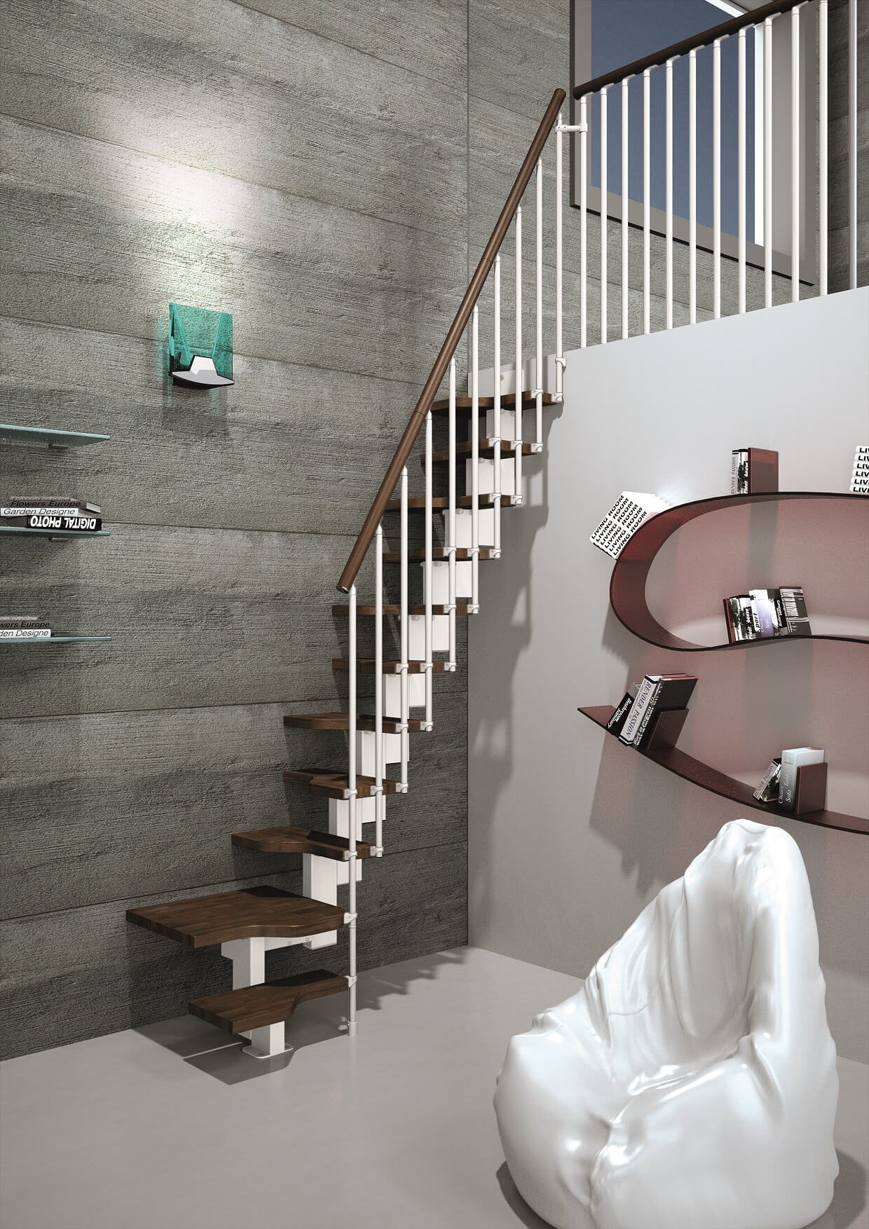 Compatta space-saving staircase in white with Walnut finish treads