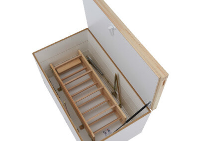 Wooden loft ladder with secondary upper hatch. Offers superb thermal insulation