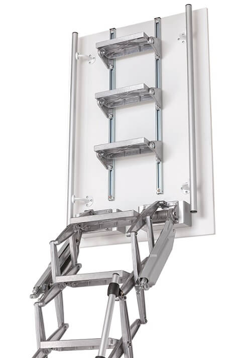 Elite retractable loft ladder with headboard is an ideal flat roof access ladder