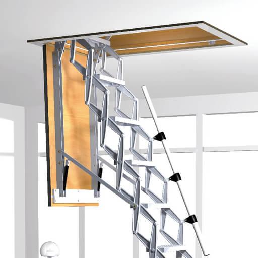 Supreme fire resistant loft ladder. Featuring an F30 fire resistant hatch box and retractable aluminium loft ladder