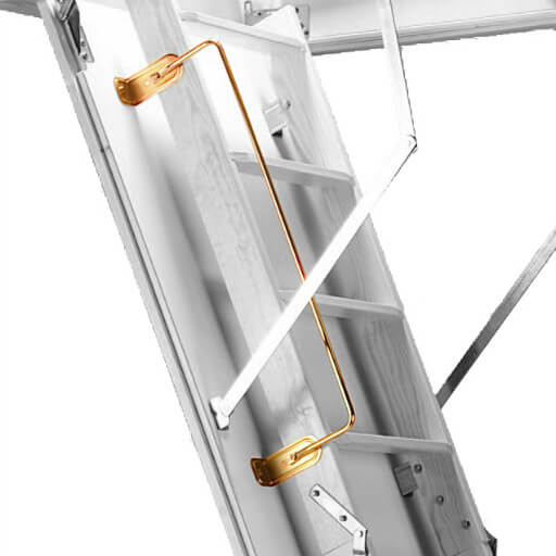 Handrail for folding wooden loft ladders