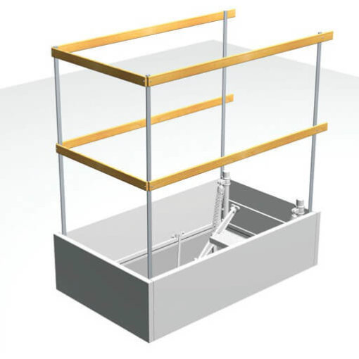 Protective upper level metal rail for loft ladder opening