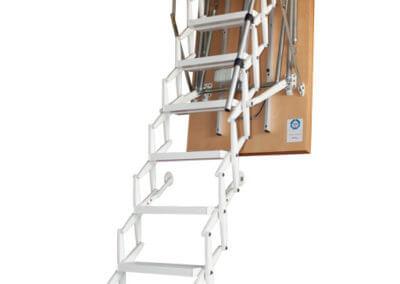 Supreme Electric loft ladder. Wooden hatch box with white powder coat electric concertina ladder. Premier Loft Ladders