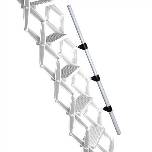 Additional telescopic handrail for enhanced comfort and safety when climbing a loft ladder