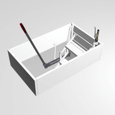 Top opening mechanism for the Supreme retractable loft ladder with steel hatch box and trapdoor