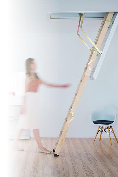 Domestic loft ladders from Premier Loft Ladders. The Cadet 3 folding wooden loft ladder
