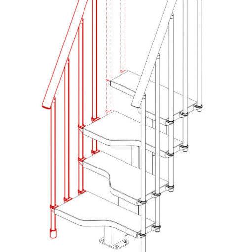 Compatta railing kit for 3 steps