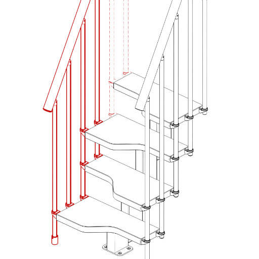 Compatta railing kit for 3 steps