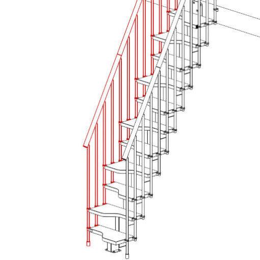 Compatta railing kit for 11 tread staircase