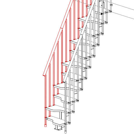 Compatta railing kit for 11 tread staircase