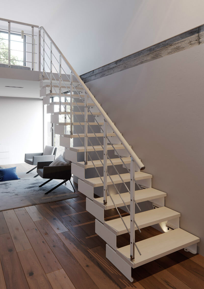 Composity bespoke modular stairs with white finish