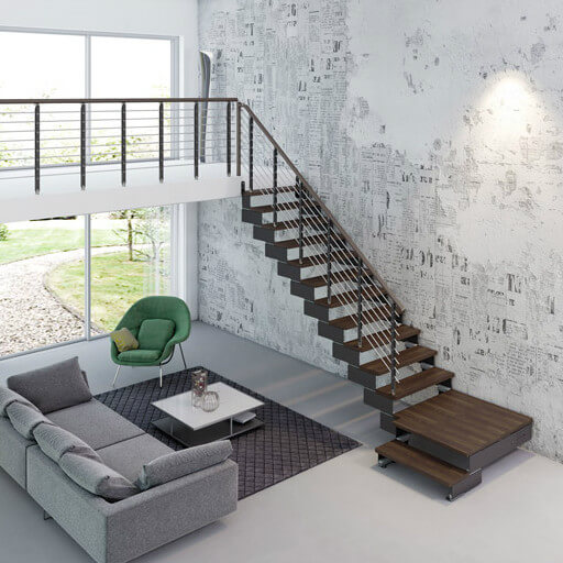 Composity modular staircase in grey with Walnut finish steps