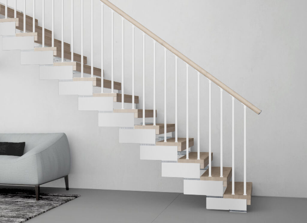 Composity open tread staircase with safety riser and tube handrails to protect against very young children falling through the gaps. Available from Premier Loft Ladders