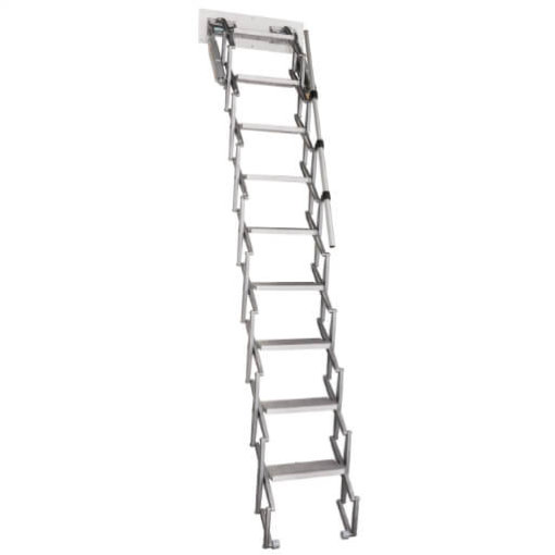 Elite heavy duty loft ladder. Aluminium concertina loft ladder. Premier Loft Ladders