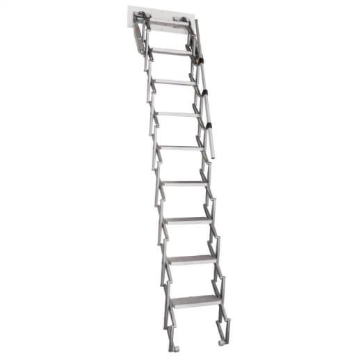 Elite heavy duty loft ladder. Aluminium concertina loft ladder. Premier Loft Ladders