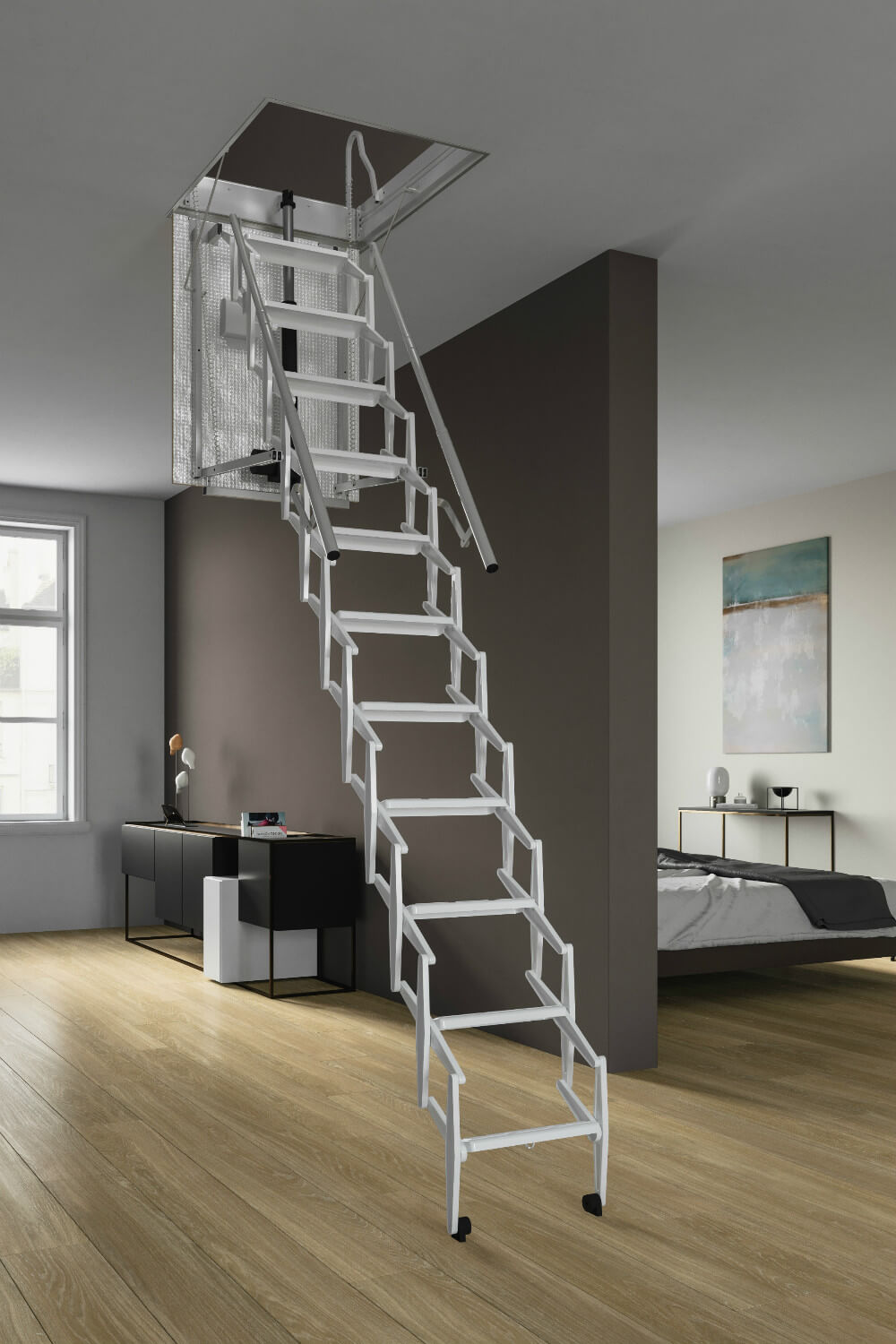 Escalmatic loft ladder from Premier Loft Ladder. Style, safety and convenience.