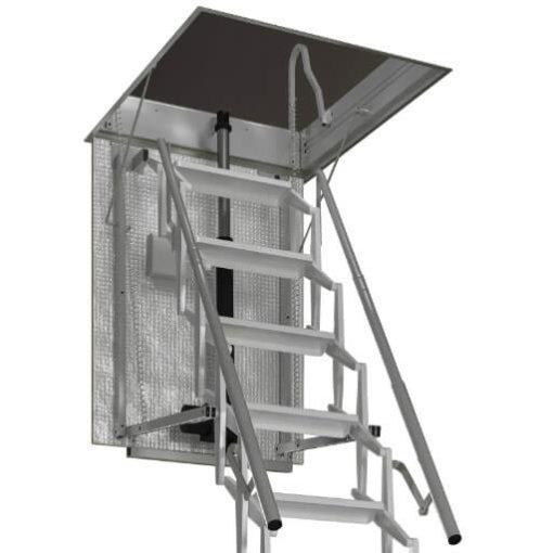 Escalmatic electric loft ladder with insulated hatch and two handrails. Premier Loft Ladders