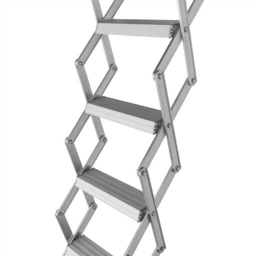 Piccolo Loft Ladder. Retractable aluminium loft ladder for installation into existing hatch boxes