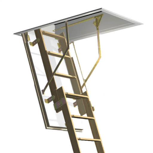 Quadro 2 part sliding wooden loft ladder and hatch for high ceiling rooms