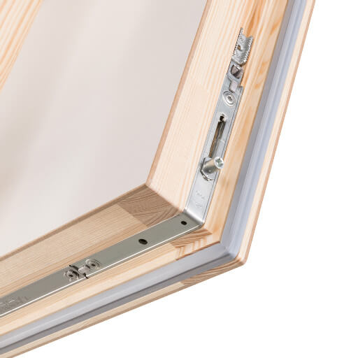 Quadro wooden loft hatch and ladder featuring 4-point locking mechanism for an airtight seal