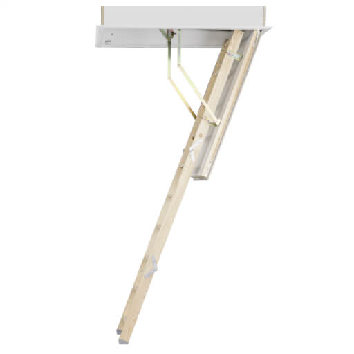Made-to-measure loft ladders include the Quadro wooden loft ladder with insulated loft hatch