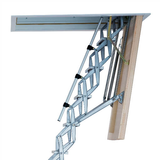 Heavy duty concertina loft ladder with highly insulated loft hatch.