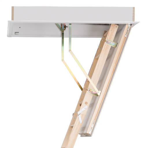 Quadro wooden loft ladder. Made-to-measure to fit truss roof ceiling openings from 1m long by 0.55m wide. From Premier Loft Ladders