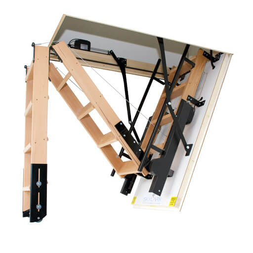 Skylark electric folding attic stairs. Available from Premier Loft Ladders