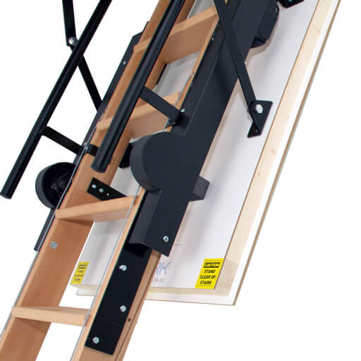 Skylark fully electric foldaway attic stairs. Featuring hardwood ladder and high-strength steel brackets.