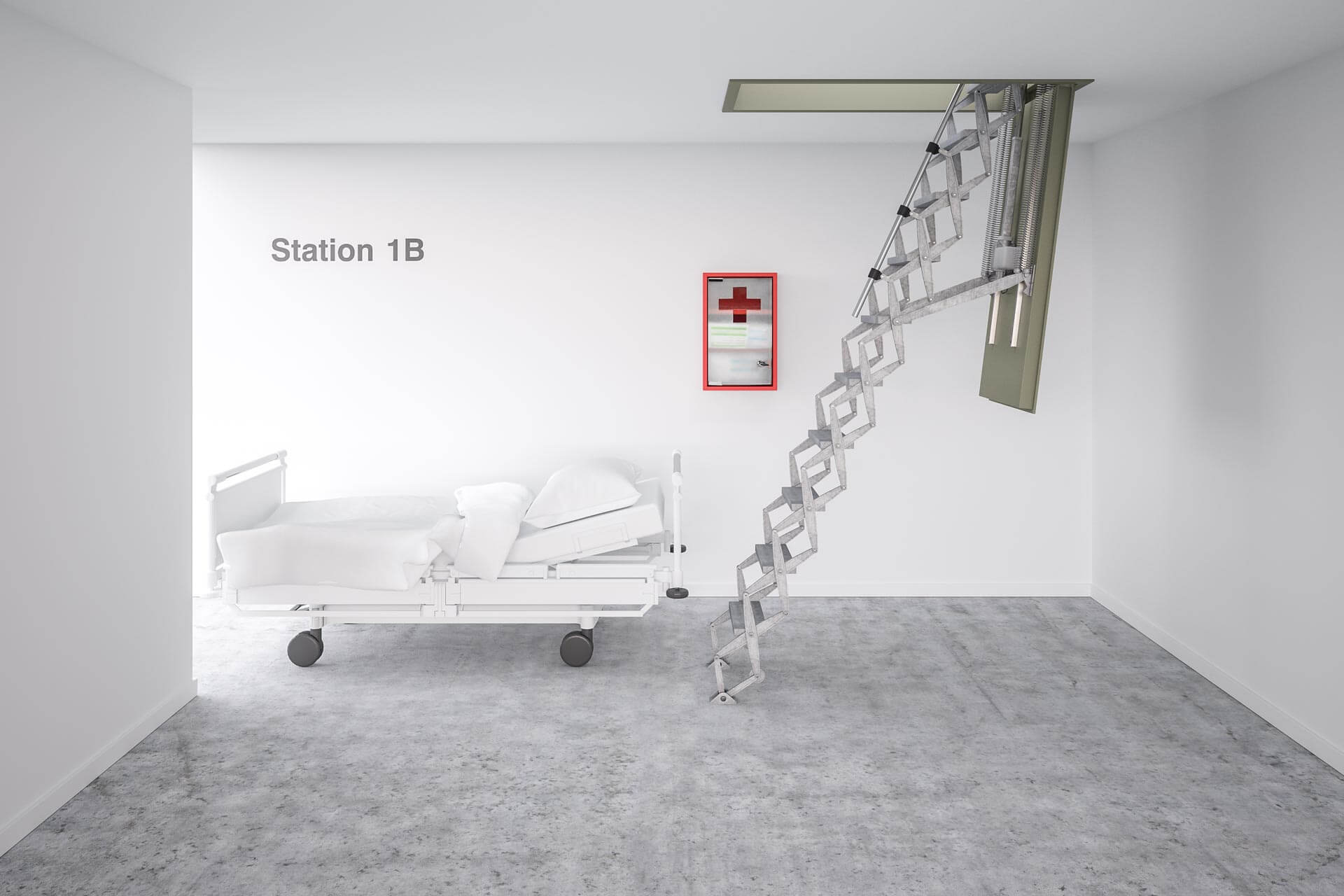 Supreme Electric loft ladder with steel fire rated hatch. Ideal for demanding applications such as hospitals. Premier Loft Ladders