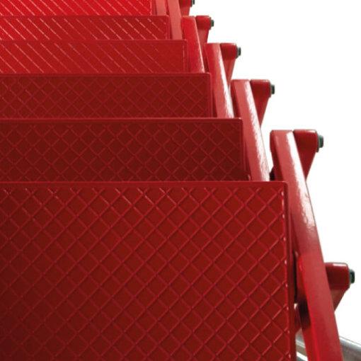 Supreme loft ladder treads in red powder coat. Premier Loft Ladders