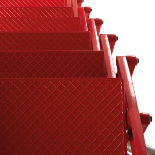 Supreme loft ladder treads in red powder coat. The difference is in the detail. Premier Loft Ladders