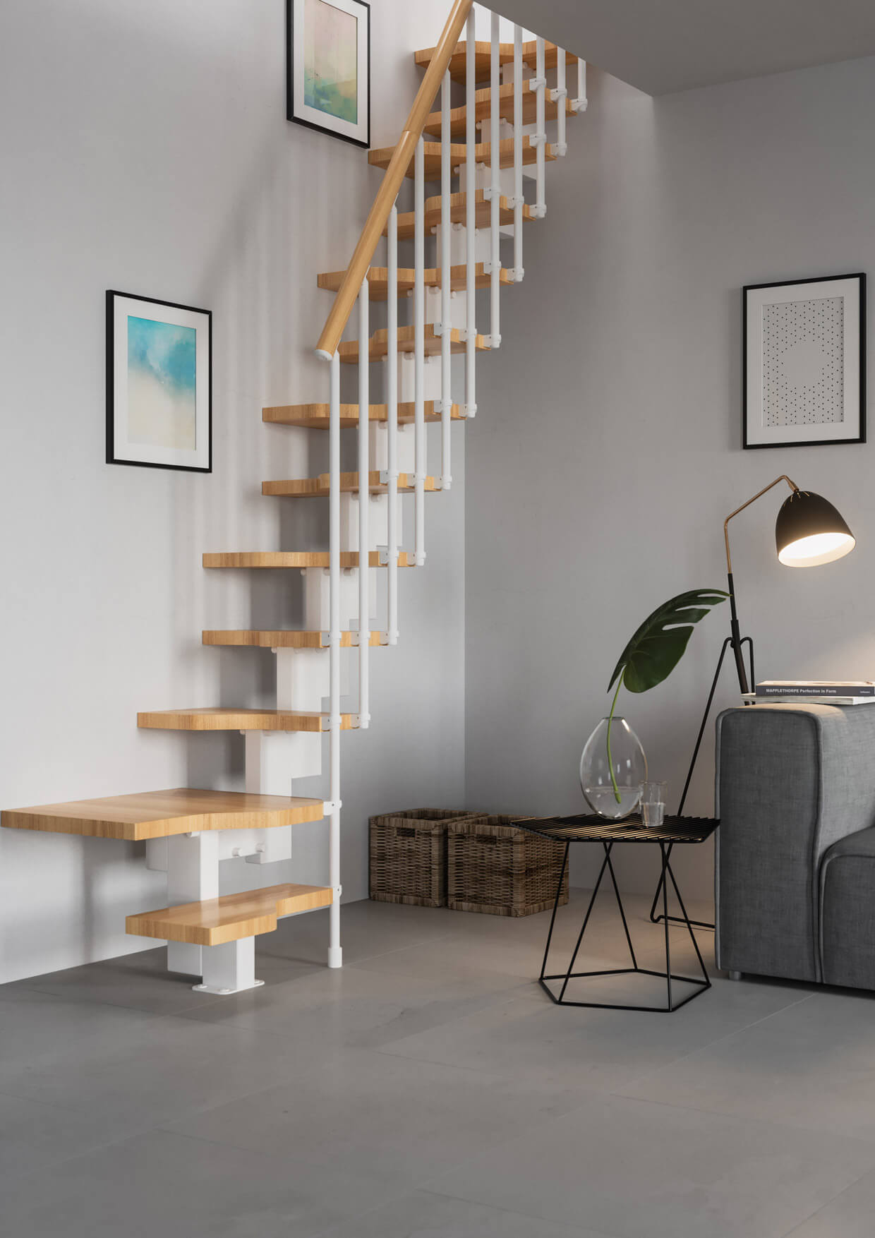 Compatta space saver stairs for a loft. Easy to install modular stairs. Alternating treads. From Premier Loft Ladders