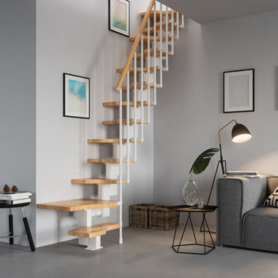 Compatta space saving stairs for a loft. Easy to install modular stairs. Alternating treads. From Premier Loft Ladders