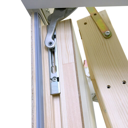 Concealed hinge allows for a seamless finish on the trapdoor. Designo wooden loft ladder. Premier Loft Ladder