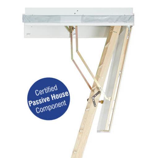 Passive house certified wooden loft ladder. Designo from Premier Loft Ladders