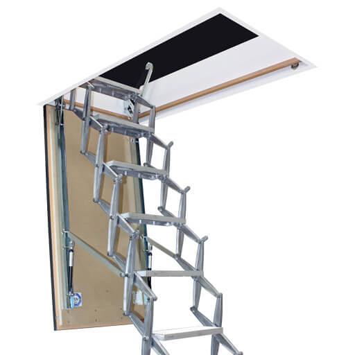 Supreme F30 fire resistant loft ladder with insulated wooden hatch. From premier Loft Ladders