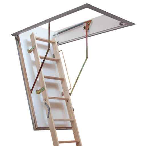 Quadro made-to-measure wooden loft ladder with insulated loft hatch